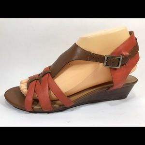 Clarks Artisan Orange Leather Sandals Women's 9M